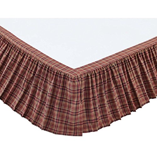 1 Piece Burgundy Navy Khaki Plaid Pattern Bed Skirt King Size 16-Inch Drop, Luxury Red Blue Gingham Checkered Design Ruffled Bed Valance, Casual Cabin Style Bedskirt, Vibrant Colors, Ultra-Soft Cotton