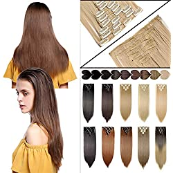 "8Pcs 23"" Long Straight Real Thick Full Head Clip in Hair Extensions (Bleach Blonde)"