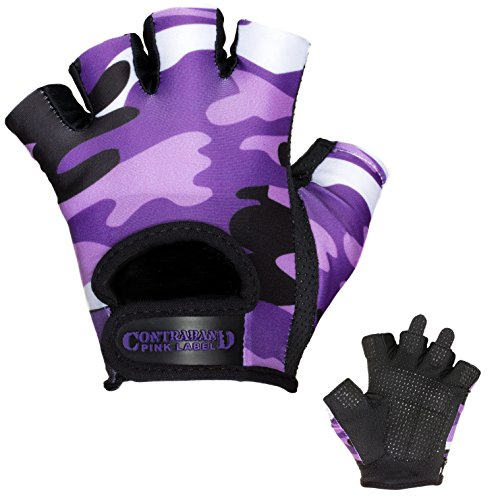 Contraband Pink Label 5217 Womens Design Series Camo Print Lifting Gloves (PAIR) - Lightweight Vegan Medium Padded Microfiber Amara Leather w/ Griplock Silicone (Purple, Medium)