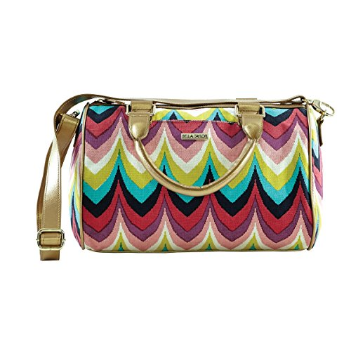 Bella Taylor Harper Lane Satchel Handbag with Strap and Chevron Pattern with Colorful Splashes of Bubblegum Pink, Crème, Lemon, Navy, Plum, Raspberry and Turquoise H 8 Base: W 12 x D 5.5 Inches