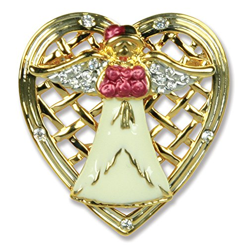 Mom Angel Pin Angel Holding Roses Framed with a Filigree Heart Mother's Day Gift