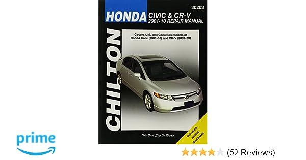honda civic 2001 2010 cr v 2002 2009 chilton s total car care rh amazon com 2012 honda civic repair manual 2014 honda civic repair manual pdf