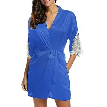 2496134c6884 Amazon.com  NEARTIME Women s Satin 3 4 Sleeve Plus Size Kimono Robe ...