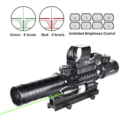 MidTen Tactical Rifle Scope 3-9x32EG Illuminated Reticle Reflex Sight with Green Laser (Reflex Viewfinder)