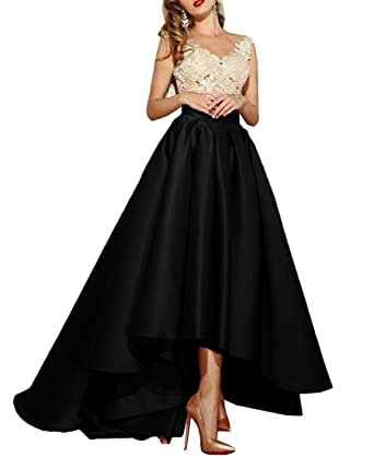 Beilite Womens V Neck Lace Appliques Prom Dresses Hi-Lo Satin Evening Gowns Black 2