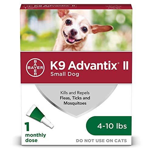 (Flea and tick Prevention for Dogs, Dog flea and tick Treatment, 1 dose for Dogs 4-10 lbs, K9 Advantix)