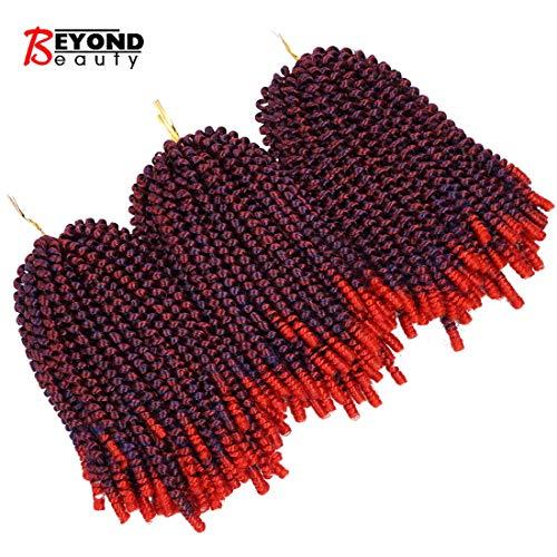 3 Pack Spring Twist Ombre Colors Crochet Braids Synthetic Braiding Hair Extensions Low Temperature Fiber (Beauty Color