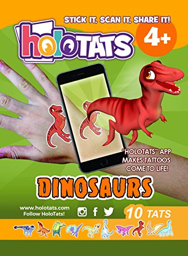 50% OFF Holo Tats Dinosaurs - Holographic Augmented Reality Temporary Tattoos For Kids. Great For Kids Parties (Pack of 10)