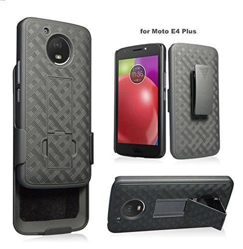 Motorola Moto E4 Plus Case, Moto E4 Plus Case, Swivel Slim Belt Clip Holster Protective Case, Defender Cover w/Swivel Locking Belt Clip [Kickstand] for Moto E4 Plus- Black