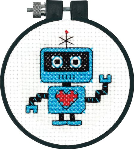 Dimensions Learn-A-Craft Robot Mini Counted Cross Stitch Kit for Beginners, 3
