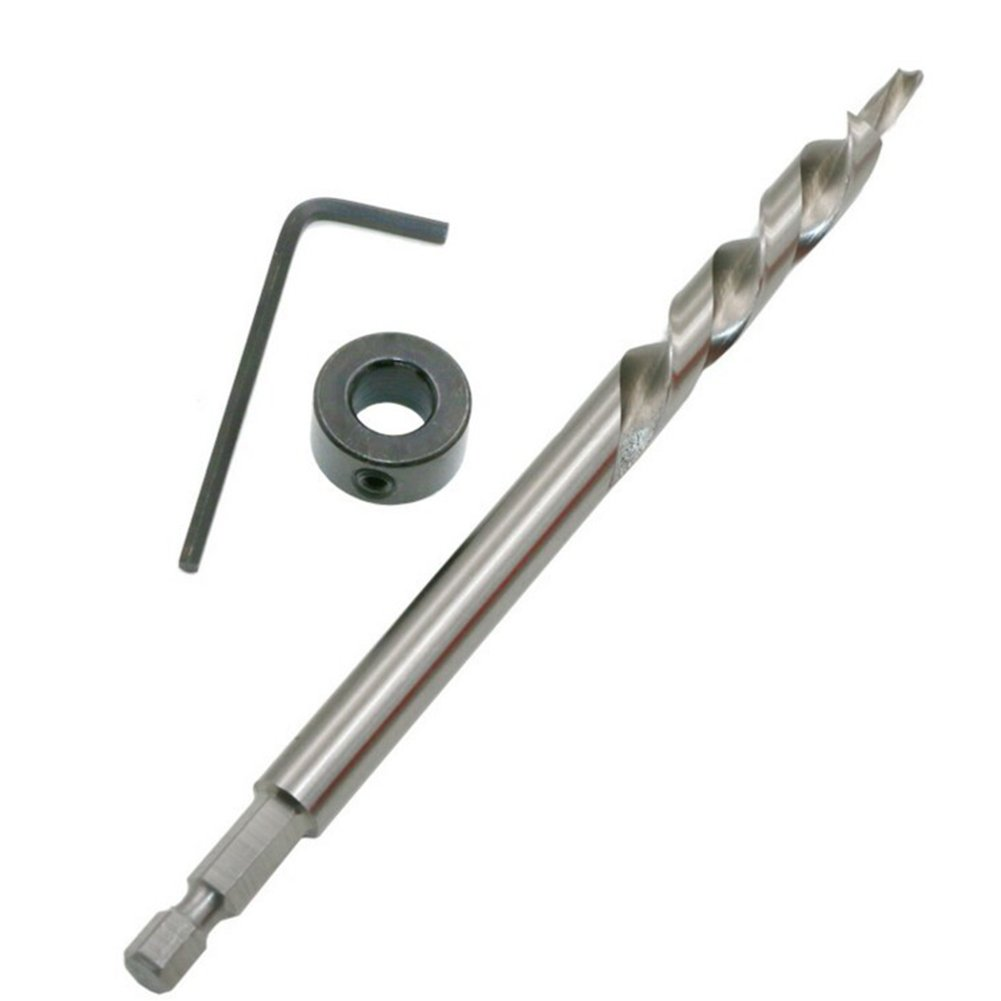 Vis positionnement perceuse, Qind 3/20,3cm (9.5mm) en acier rapide Twist Foret étagé avec butée de profondeur Collier menuiserie oblique trou Step Guide de perçage de positionnement pour Pocket trou Jig Systèm
