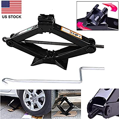 DICN 2 Ton Car Lift Scissor Jack Hand Screw Automotive Universal Spare Tire Garage Tool Emergency for Hyundai Toyota Nissan Volvo Dodge VW Kia Cheysler