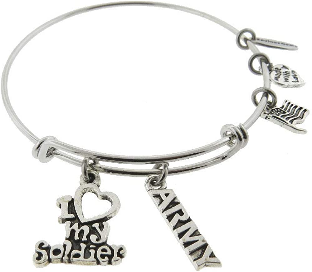 Envious Gems I Love My Soldier Air Force Silver Tone Expandable Wire Bracelet