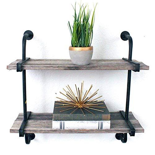 BarnwoodUSA   Rustic Industrial Shelf with Wood Planks   100 Percent Reclaimed Wood