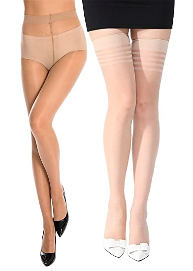 f643aea13 Stylefolio® Women s Pantyhose and Thigh High Sheer Super Fine Stockings  Long Comfort Excellent Stretch (2 Beige)  Amazon.in  Clothing   Accessories