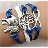 SheClub® Wax Rope Braided Bracelet, Unisex Gift Infinity Lucky Elephant and Life of Tree Charms Bracelet in Blue Wax Cords