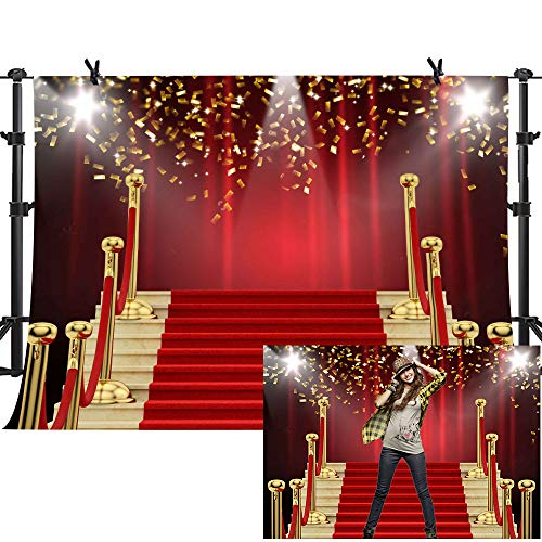MME 7x5Ft Red Curtain Background Red Carpet Stairs
