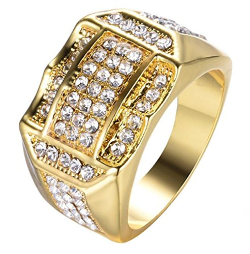 Gangster Guy (JJWW Tough Guy Muscular Male Large Gold More Drilling Zircon Rings 63pcs Small Zircon Inlaid Ring (7))