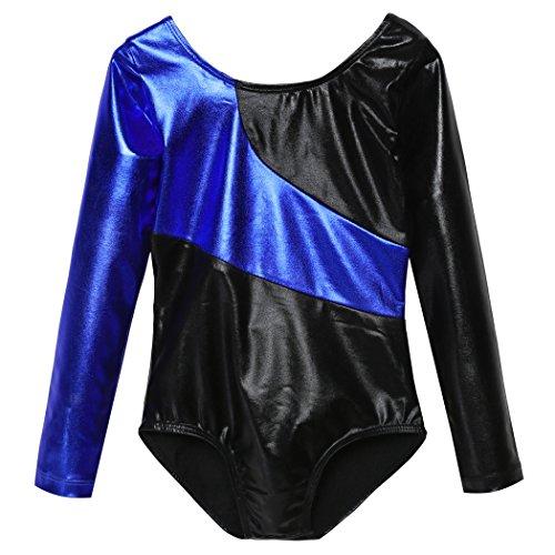 BELLE-LILI Kids Girls Sparkle Patchwork Long Sleeve Gymnastics Leotard (11-12 Years, Blue)