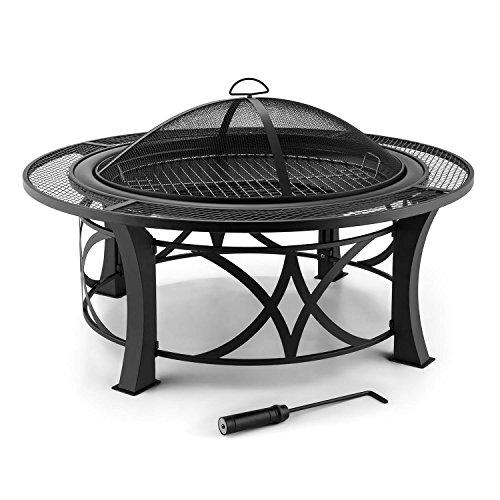 Blumfeldt Ronda Garten Feuerstelle Feuerschale mit Grill (Ø95cm Terrassenofen , mit Funkenschutz-Deckel, 60cm Grillrost, brünierter Stahl, inkl. Schürhaken) schwarz
