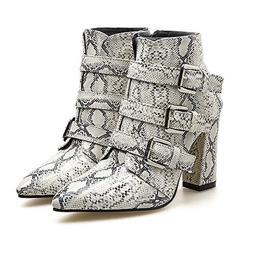 de Piel Hebilla Las Grueso Patrón Mujer Rawdah Mujer Blanco Punta Dedo Botas Zapatos cinturón Mujeres Botas Zapatos de del de Botines Invierno Mujer de Botas Plataforma Cremallera Serpiente de xqaY178Y0