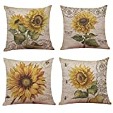 Ogrmar 4PCS 18'x18' Throw Pillow Covers Decorative Couch Pillow Cases Cotton Linen Pillow Square Cushion Cover for Sofa, Couch, Bed and Car (Sunflower)