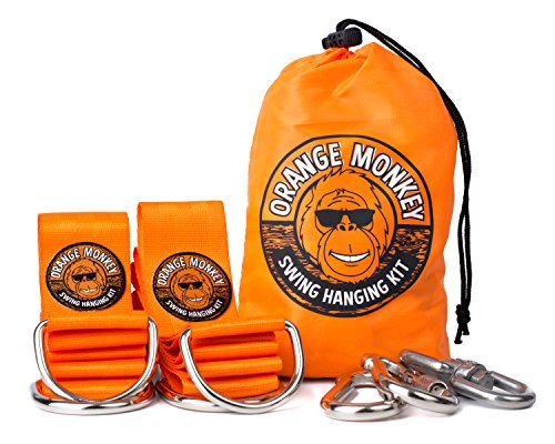 Orange Hook (Tree Swing Straps Connect to Any Swing | Two 5 Ft. Orange Tree Straps with Safety Locking Carabiners | Swing 360 Degrees (Swivel) | Tree Swing Hanging Kit is SGA Certified | No Tools Required)