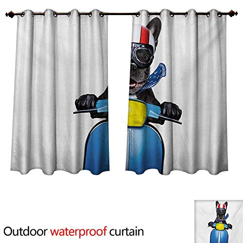WilliamsDecor Dog Driver 0utdoor Curtains for Patio Waterproof Quirky French Bulldog on Scooter with Helmet Goggles Rocker Puppy W108 x L72(274cm x 183cm) (Atlanta Furniture French)