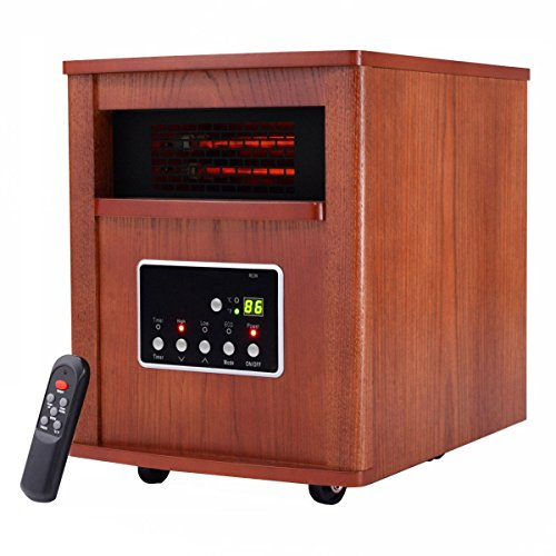 Giantex 1500W Electric Portable Quartz Tube Space Heater Home Furniture W/Remote &Wheels(1500W Wooden) Giantex Infrared Heaters