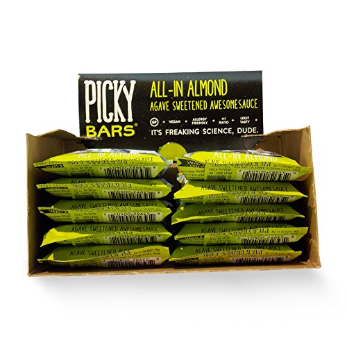 Picky Bars All-In Almond: All Natural Gluten Free Vegan Protein Energy Bar (1 box = 10 bars)