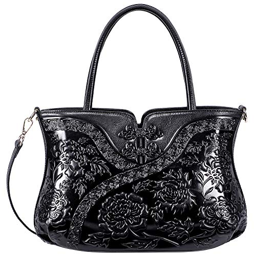 PIJUSHI Designer Floral Handbag for Women Top Handle Satchel Bags Cheongsam Shoudler Bag (22332 Black)