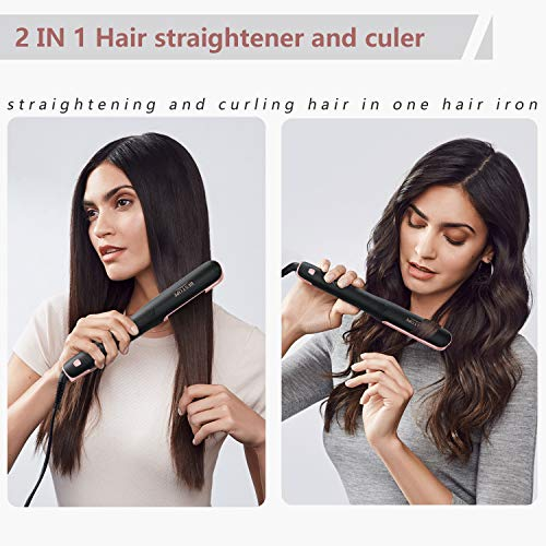 BESTOPE Hair Straightener and Curler Professional Ceramic 2 In 1 Flat Iron for Hair, 15s MCH Tourmaline Heating Technology with Safer Closed Iron ...