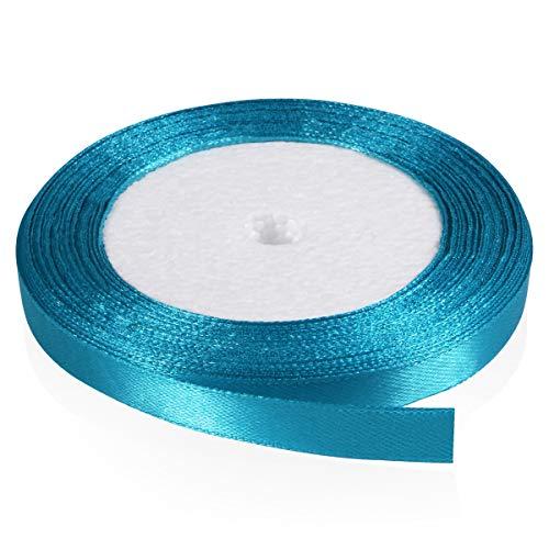 Solid Color Satin Ribbon, Kissbuty 3/8 Inch 25 Yards Gift Wrapping Ribbons Single-Sided Fabric Ribbon Embellish Ribbon Silk Ribbon Roll for Bows Crafts Gifts Party Wedding (Peacock Blue)