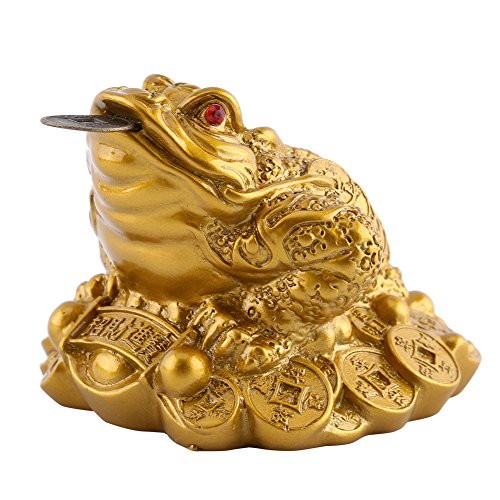 (Yoki Feng Shui Toad Money Lucky Fortune Wealth Chinese Golden Frog Toad Coin Home Office Decoration Tabletop Ornaments Lucky Gifts)