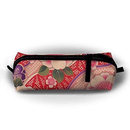Kimono Flowers Pattern Design Pen Pencil Stationery Bag Makeup Case Travel Cosmetic Brush Accessories Toiletries Pouch Bags Zipper Resistance Carry Handle Power Lines Hanging Handbag ()