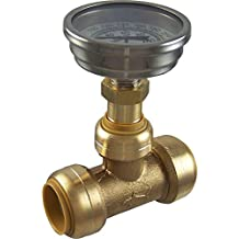 SharkBite 24439 Brass Push-to-Connect Tee with Water Temperature Gauge, 3/4""