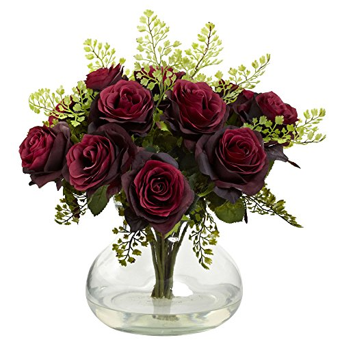 Nearly Natural 1366-BG Rose and Maiden Hair Arrangement with Vase, Burgundy ()