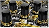 Beistle 88311BKGD50 The Big Top Hat Assortment for 50 People, Black/Gold