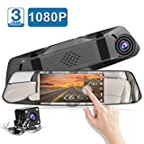 Backup Camera 5' Mirror Dash Cam Touch Screen Full HD 1080P CHORTAU Dual Dash Cam Front and Rear with Waterproof Rear View Camera with Loop Recording and Parking Monitor