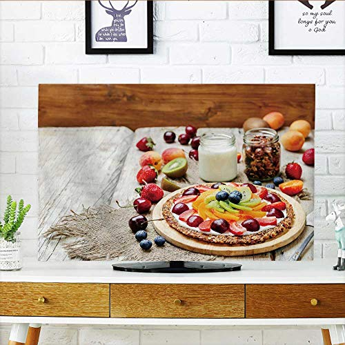 (Philiphome Cord Cover for Wall Mounted tv Greek Yogurt Granola Fruit Breakfast Pizza ton Selective Focus Cover Mounted tv W35 x H55 INCH/TV 60