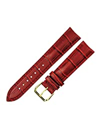 RECHERE Alligator Crocodile Grain Leather Watch Band Strap Gold Pin Buckle Color Red (width 24mm)