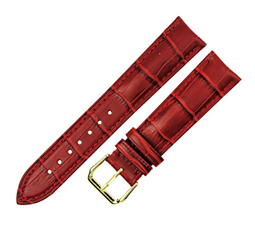RECHERE Alligator Crocodile Grain Leather Watch Band Strap Gold Pin Buckle Color Red (Width 16mm)