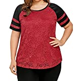 OSTELY Women's Casual Plus SizeLace Insert Raglan Sleeve Tops T-Shirt Blouse(Red, XXXXX-Large)