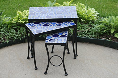 Set of 3 Cement Mosaic Blue Round Tile Top Accent Side Tables (Nest) (Mosaic Side Table Outdoor)