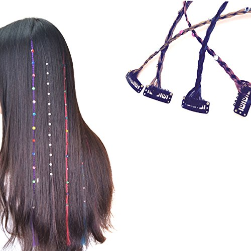 4 Pcs Boho Handmade Hippie Hair Extensions Wig Headwear Hair Clip with Colourful Rhinestone - DIY Hairpin Headdress Accessories for Women Lady Girls from Nicedmm