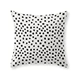Society6 Preppy Brushstroke Free Polka Dots Black And White Spots Dots Dalmation Animal Spots Design Minimal Throw Pillow Indoor Cover (18'' x 18'') with pillow insert