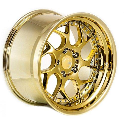 Aodhan Wheels DS-01: 18x9.5, 5x114.3, 73.1, 15, (Gold Vacuum w/Chrome Rivets)