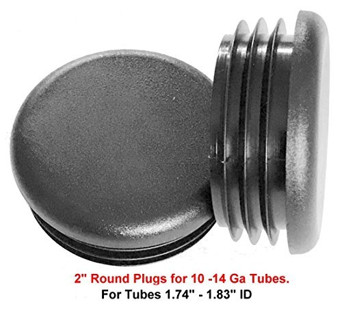 (Pack of 8) - 2'' OD Round Black Plastic Tubing Plug, (10 - 14 Ga 1.740''-1.830'' ID) 2 Inch End Cap - Steel Furniture Pipe Tube Cover Insert | Fencing Post Inserts - End Caps for Fitness Equipment