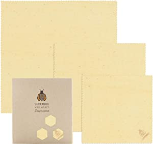 SuperBee Premium Beeswax Wraps | Set of 3: Small, Medium and Large | Long-Lasting, Organic, Eco Friendly & Ethical Trade Reusable Food Wraps