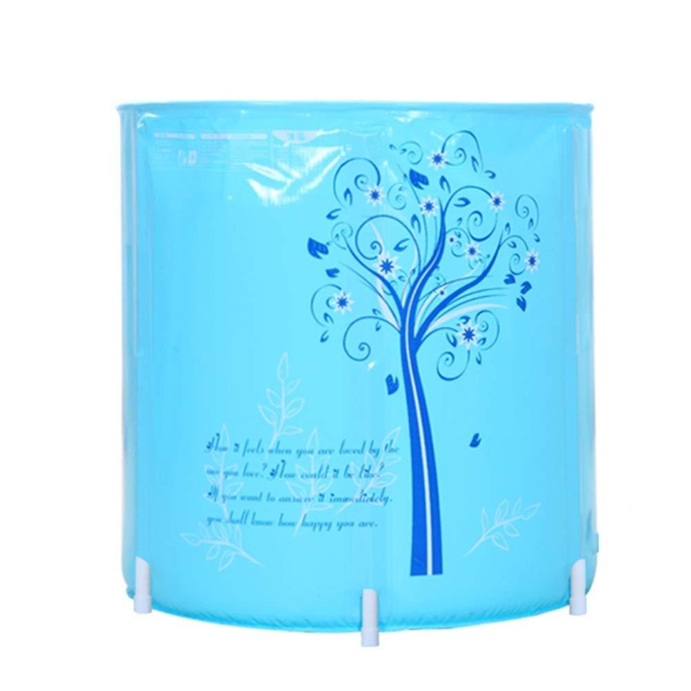 BAOYUANWANG Folding Bucket Household Bathtub Adult Bathtub Free Inflatable Bathtub Thicken PVC Blue/Pink Bathtub Bathtub (Color : Blue)